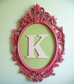 """Would love to do this for each of the girls. Turquoise framed """"P"""", purple framed """"A"""" and pink framed """"S"""" to go with each of their rooms!"""
