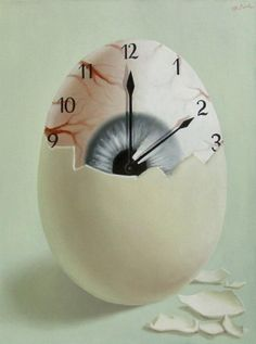 Surreal artwork by Mihai Criste. Poesia Visual, Eyes Artwork, Surreal Artwork, Surrealism Painting, Egg Art, Time Art, Time Time, Photo Manipulation, Easy Drawings