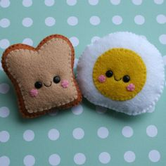 Tiny felt breakfast brooches! Two inches across = fun size. $18 and you can take them and rub them all over your face.
