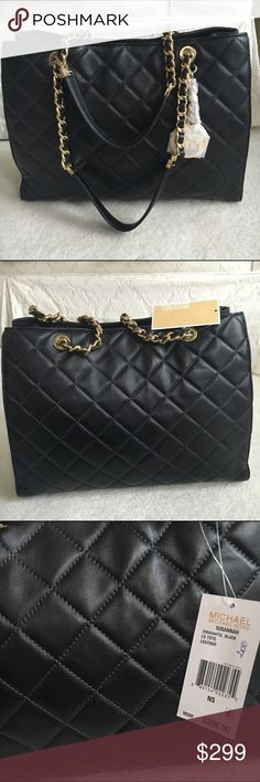 MICHAEL KORS satchel Soft black quilted leather with gold tone chain  detail. New! Authentic 🚫trades Michael Kors Bags Satchels