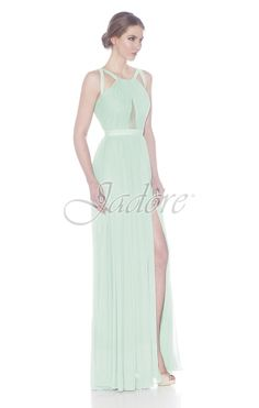 Jadore Style #J7040 Grecian neckline with strappy accents and keyhole front.  This simple design, is classic and elegant.  Add a beaded belt or brooch for some sparkle.  J7040 is available in sizes 2-26 and can be ordered in more than 20 colors including Black, Mint and Ice Smoke.  View more styles for dress from Jadore Evening.