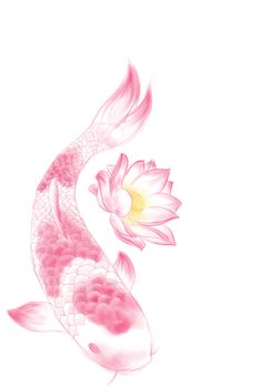 Pink koi with LILY PAD. Use white ink with shading. YES.