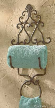 The Country Porch features the New Orleans Towel Holder with Ring from Park Designs. French Bathroom Decor, Tuscan Bathroom, Bath Decor, Bathroom Styling, Cheap Home Decor, Diy Home Decor, Chandelier Makeover, Tuscany Decor, Log Home Interiors