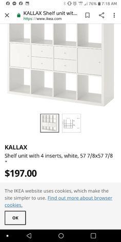 Kallax Shelf Unit, Furniture Vanity, Bar Chart, Ikea, Shelves, Simple, Shelving, Ikea Co, Bar Graphs