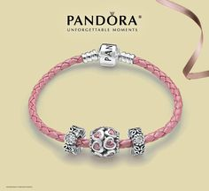 Pink PANDORA Leather Bracelet available at Benson Diamond Jewelers! http://bensondiamondjewelers.com/