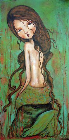 Patti Ballard / Green Mermaid Mixed Media