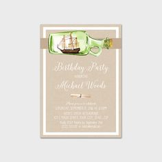 Male Birthday Invitation Printable Rustic Men's Birthday Invite Watercolor Nautical Ship in a Bottle Nautical Birthday 5x7 Digital File by MossAndTwigPrints on Etsy