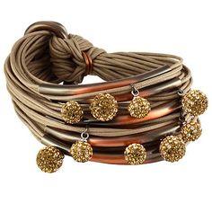 Gillian Julius Multi Tube Bracelet, Copper & Two-Tone Diamond Balls | Taupe Cord. Multi strand bracelet consisting of 20 waxed cotton cords. Each cord of bracelet features a copper tube with two-tone cubic zirconia accents. $365
