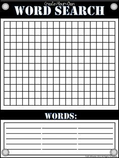 word search grid blank