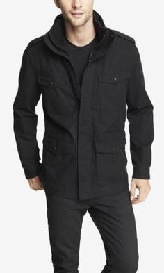 (MINUS THE) LEATHER TRIM COTTON MILITARY JACKET from EXPRESS
