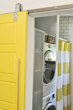 Yellow love. Getting bored with the barn door trend.