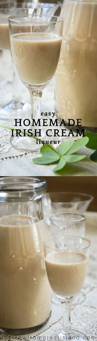 How to Make Homemade Irish Cream ~ this diy Irish Cream is a perfect copy cat of one of my favorite liqueurs. It's dangerously delicious, and ridiculously easy to make. Mix up a batch for for your friends this weekend! #cocktails #irishcreme #homemadeliqueur #liqueur #diyliqueur #creamliqueur #irishcoffee #whiskey #coffeeliqueur #foodgift #drinks #alcohol #holidaydrinks #partydrinks