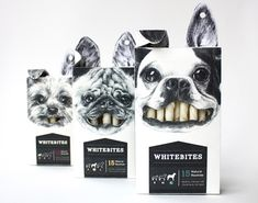 Dog snack packaging: This clever packaging Whitebites rawhide sticks by Cecila Uhr stands out on the shelves.