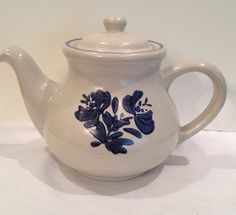 Phaltzgraff Yorktown Teapot, Vintage, Collectible, Blue Verge, Gray and Blue, Country Kitchen, Housewares, Serving, Hot Tea, Tableware by Sunshineoftreasures on Etsy