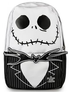 Nightmare Before Christmas Backpack by Loungefly (Black/White) #InkedShop #bookbag #backpack #JackSkellington #Jack #NightmareBeforeChristmas