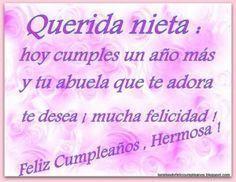 Imágenes de cumpleaños para una nieta (8) Happy Birthday Wishes, Birthday Cards, Mother Quotes, Letterpress, Booklet, Creative Design, Birthdays, Baby Shower, Amelie