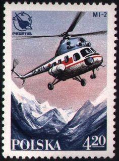 Sello: MI-2 helicopter over mountains (Polonia) (Polish Sport Planes) Mi:PL 2554,Sn:PL 2262,Yt:PL 2381