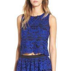 Women's Devlin 'Justina' Lace Top ($98) ❤ liked on Polyvore featuring tops, indigo, lace top, cut-out crop tops, blue sleeveless top, blue crop top and blue top