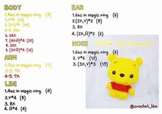 Best 12 Winnie The Pooh portachiavi amigurumi schema gratis tutorial walt Disney – SkillOfKing. Crochet Keychain Pattern, Crochet Bear Patterns, Crochet Doll Pattern, Amigurumi Patterns, Crochet Dolls, Crochet Disney, Kawaii Crochet, Cute Crochet, Finger Puppet Patterns