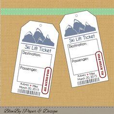 Ski Lift Ticket Wedding Printable Escort Place by blewbydesign Jessica King, Ski Wedding, Wedding Tags, Wedding Ideas, Wedding Trends, Wedding Decor, Ski Lift Tickets, Wedding Seating Cards, Ticket Template