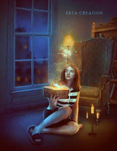 Девушка с волшебной книгой сидит на полу, by ektapinki