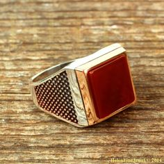 Sultan Süleiman Square Shape Agath Stone Man Ring Ottoman Silver Jewelry 925SS #Handmade