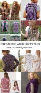 Free Crochet Circle Vest Patterns You'll Have Fun Crocheting! Crochet Circle Vest, Zig Zag Crochet, Crochet Circles, Crochet Cardigan Pattern, Crochet Flower Patterns, Crochet Squares, Crochet Motif, Crochet Shawl, Crochet Flowers