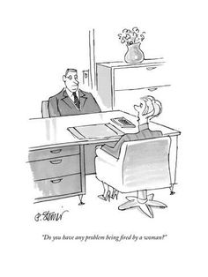 """Premium Giclee Print: """"Do you have any problem being fired by a woman?"""" - New Yorker Cartoon by Peter Steiner : Funny Cartoon Pictures, Cartoon Posters, New Yorker Cartoons, The New Yorker, Comic Strips, Find Art, Framed Artwork, Giclee Print, Poster Prints"""
