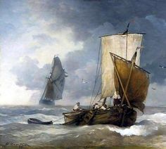 Andreas Achenbach - Fishing Boats in Stormy Seas