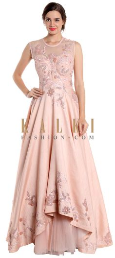 Blush pink gown adorned with pearl only on Kalki