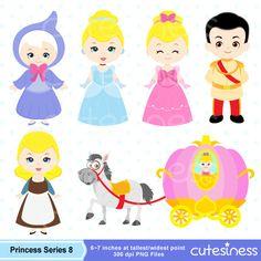 Princess Digital Clipart Princess Clipart Cinderella by Cutesiness, $6.00