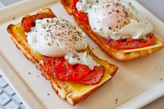toasted baguette, cheddar cheese, roasted tomatoes, fried eggs, and pepper