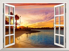 Removable Wall Sticker/Wall Mural - Elf Treehouse in The Forest Sunrise Window, Gustav Klimt, Removable Wall Stickers, Window View, 5d Diamond Painting, Paint By Number, Visual Effects, Your Paintings, Wall Murals