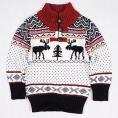 Stylish Long Sleeve Turtleneck Elk Jacquard Christmas Sweater For Boys