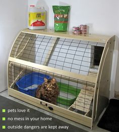 But needs to have fine mesh screening over it to keep bugs out.Litter boxes solved with Pet Outhouse. Move your cat litter out of the house. Cat Enclosure, Cat Room, Outdoor Cats, Space Cat, Cat Furniture, Diy Stuffed Animals, Crazy Cats, Animals And Pets, Cats And Kittens