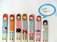 made these lovely little washi tape dolls using popsicle sticks and some drawing pens. Now my problem would be that my faces wouldn't be quite so cute …