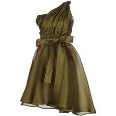Msgm Short Dress ($630) ❤ liked on Polyvore featuring dresses, military green, msgm, army green dress, zipper dress, mini dress and sleeveless dress