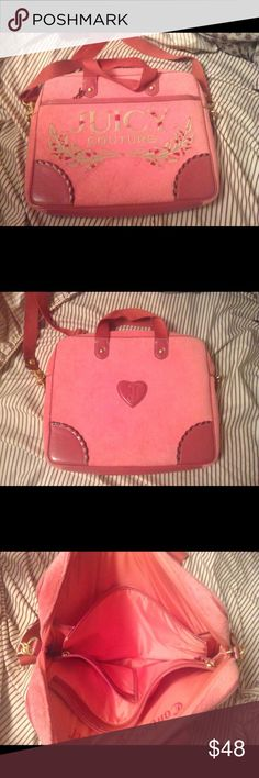 Juicy Couture laptop bag Pink juicy couture laptop bag in great condition. Juicy Couture Bags Laptop Bags