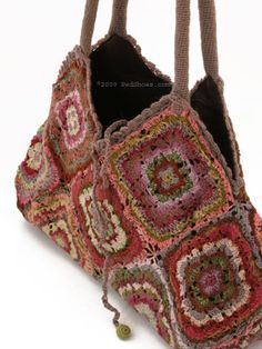 Beautifully made by Sophie Digard, this breathtaking bag is the latest delight from our favorite Parisian textile designer! Sophie meticulously crochets this co Crochet Motif, Knit Crochet, Crochet Patterns, Crochet Handbags, Crochet Purses, Crochet Bags, Granny Square Bag, Granny Squares, Boho Bags