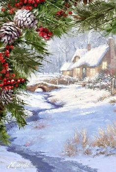 Christmas - by Richard Macneil Vintage Christmas Images, Old Fashioned Christmas, Christmas Scenes, Christmas Past, Christmas Pictures, Christmas Greetings, Winter Christmas, Christmas Crafts, Christmas Decorations