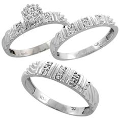 10k White Gold Diamond Trio Engagement Wedding Ring Set for Him and Her 3-piece 5 mm and 3.5 mm wide 0.14 cttw Brilliant Cut, ladies sizes 5 – 10, mens sizes 8 - 14 -- Quickly view this special  product, click the image : Engagement Rings Jewelry