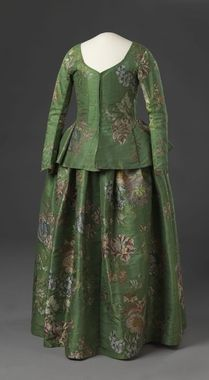 Silk brocade skirt and jacket, French, 1730-1760 (made of fabric woven in the 1730s).