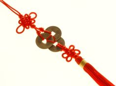 3 I-Ching Coins Tassel With Red Mystic Knot