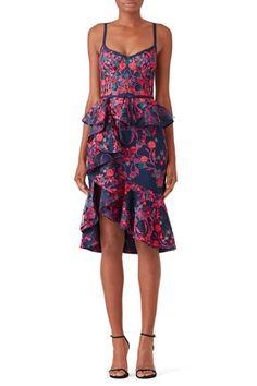58edba304d81 Floral Peplum Dress by Marchesa Notte Black Lace Midi Dress