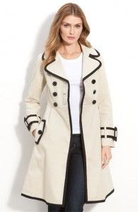 The black piping on this double-breasted Kate Spade New York Topliner trench coat is very in at the moment.