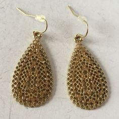 72. Gold plated filigree style rhinestones dangling earrings in shape of d... Lot 72