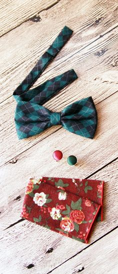 Men Bow Tie Bowtie - Check Pattern Pre-tied Double Bow - Men Groom Groomsmen Father Gift Gifts