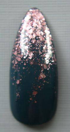 Teal accented by a cascade of rose gold stiletto nails gradient glitter champagne TheClawDiaries on Etsy Press On Nails | Fake Nails | False Nails | Glue On Nails | Artificial Nails | Nail Art