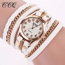 2016 CCQ Corrente de Ouro Da Moda Pulseira De Couro Mulheres Relógio Casual Relógio Analógico relógio de Quartzo Relógio de Pulso Horas Relógio Feminino 1071(China (Mainland))