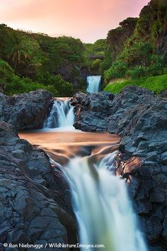 Seven Sacred Pools or Oheo Gulch, Haleakala National Park, near Hana, Maui, Hawaii. Love the seven sacred pools Mahalo Hawaii, Maui Hawaii, Hawaii Usa, Maui Travel, Hawaii Vacation, Maui Honeymoon, Beautiful Waterfalls, Beautiful Landscapes, Falling Waters